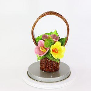 Карамельная Корзинка с лютиками желто-розовые в тубе