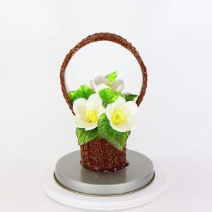 Карамельная Корзинка с лютиками цветочно-белые в тубе