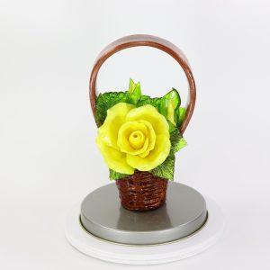 Карамельная Корзинка с розами желтыми в тубе