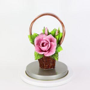 Карамельная Корзинка с розами лиловыми в тубе