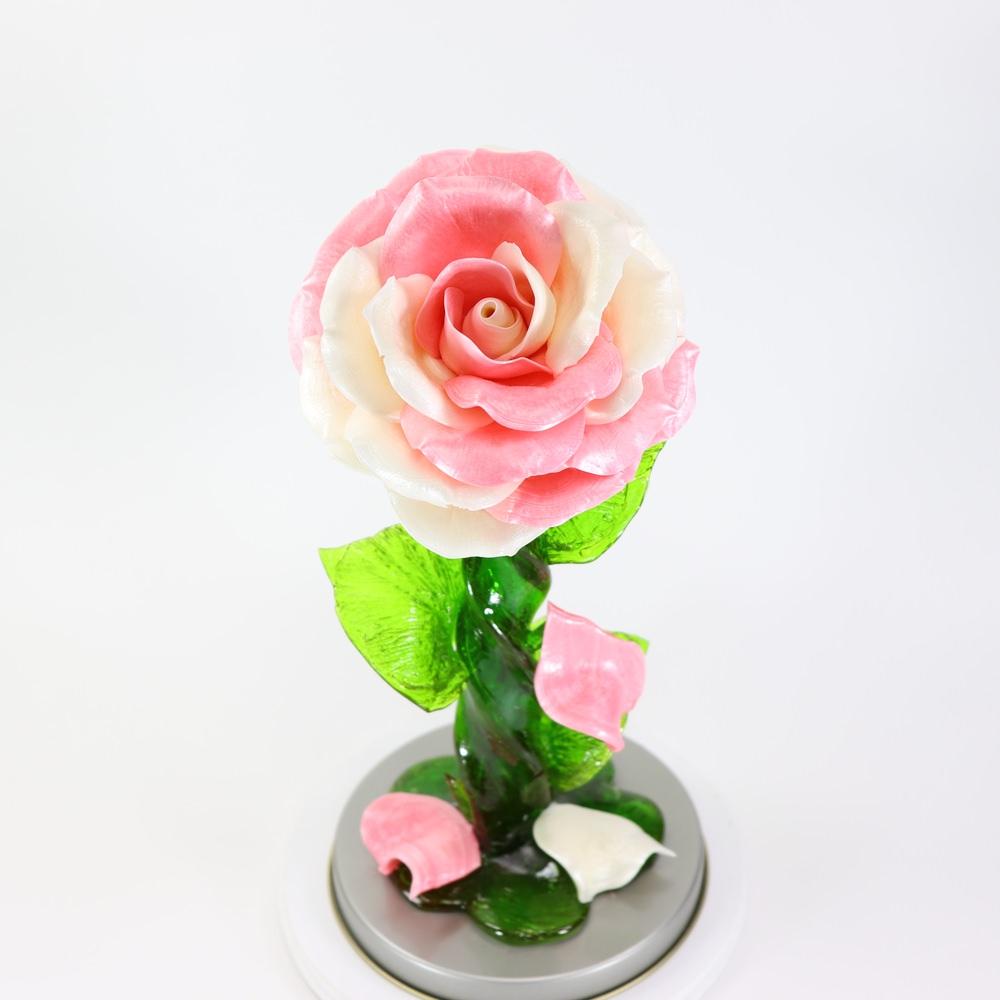 Карамельная Роза большая розово-белая в тубе