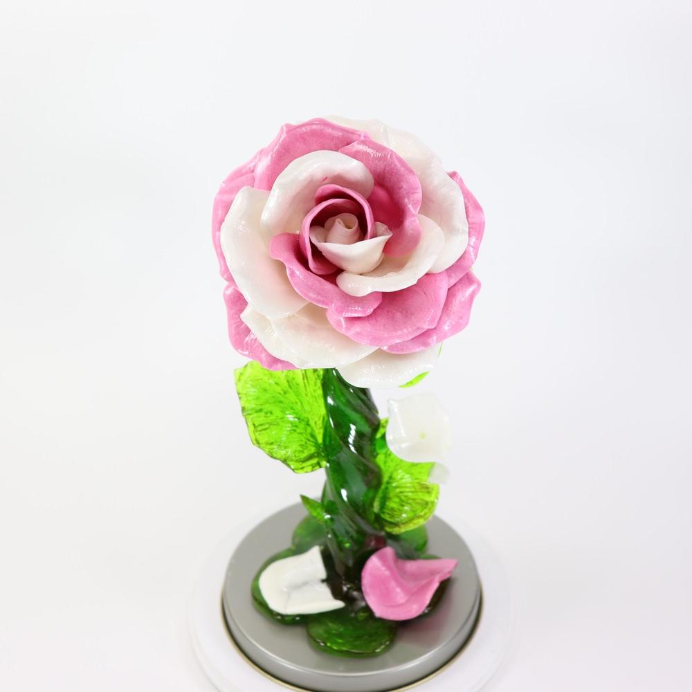 Карамельная Роза большая лилово-белая в тубе