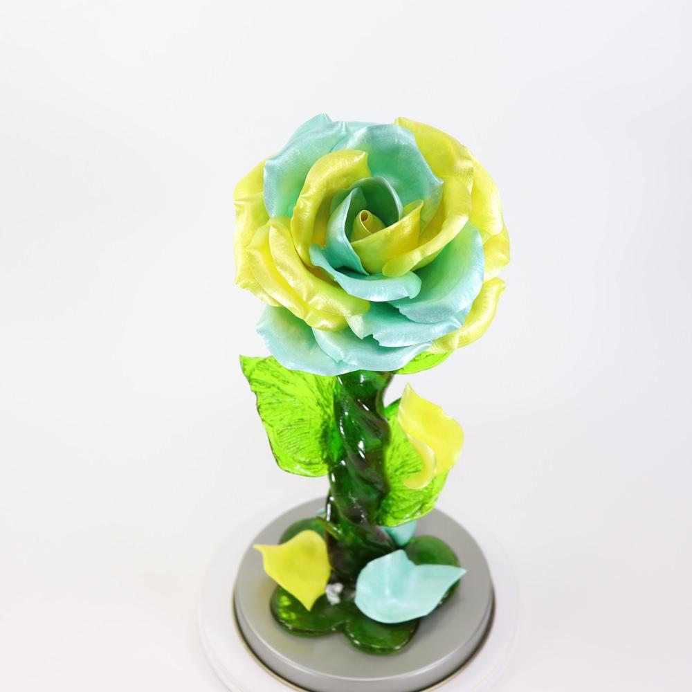 Карамельная Роза большая желто-голубая в тубе