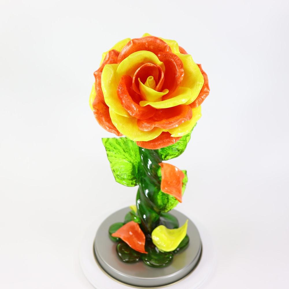 Карамельная Роза большая оранжево-желтая в тубе
