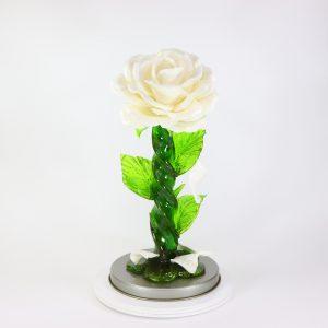 Карамельная Роза большая цветочно-белая в тубе