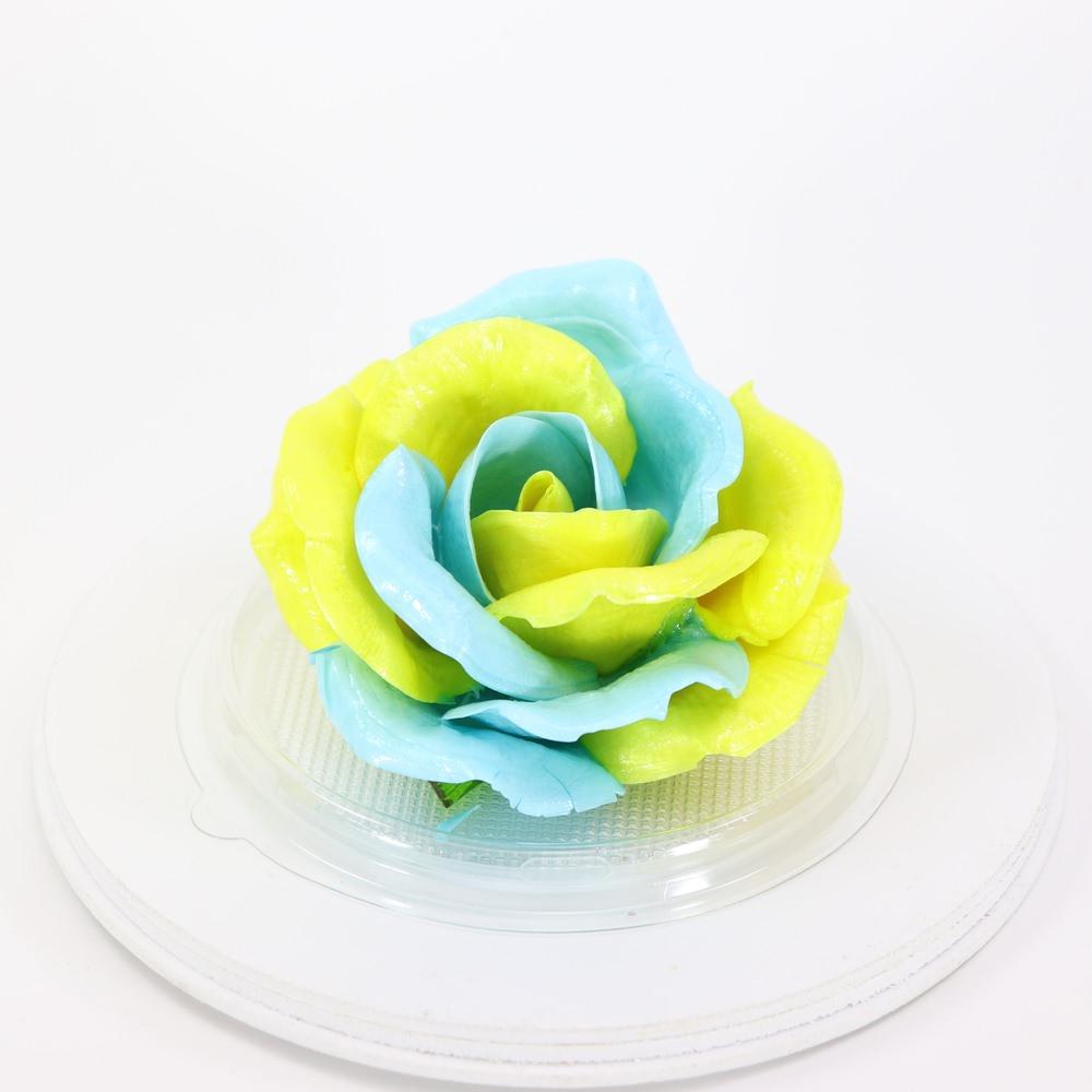 Карамельная Роза маленькая желто-голубая в полусфере
