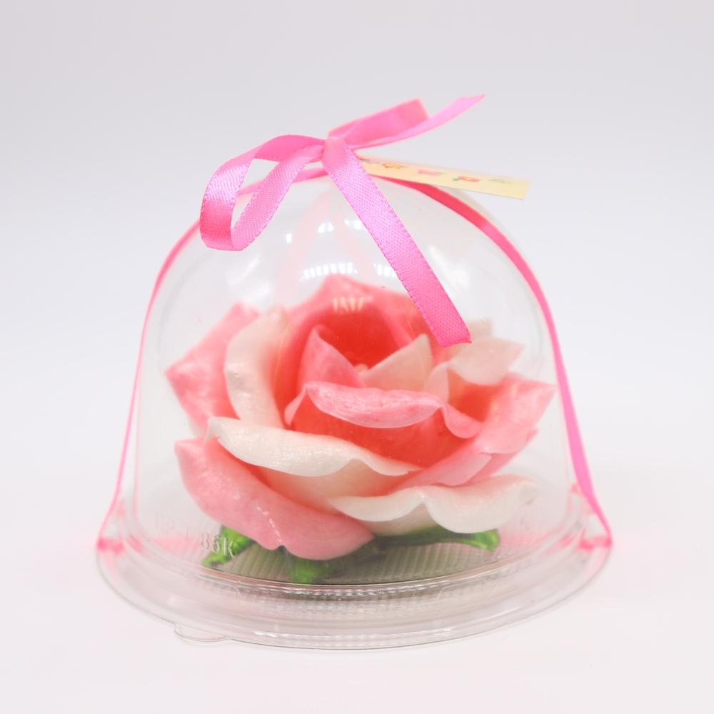 Карамельная Роза маленькая розово-белая в полусфере