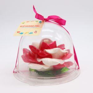 Карамельная Роза маленькая малиново-белая в полусфере
