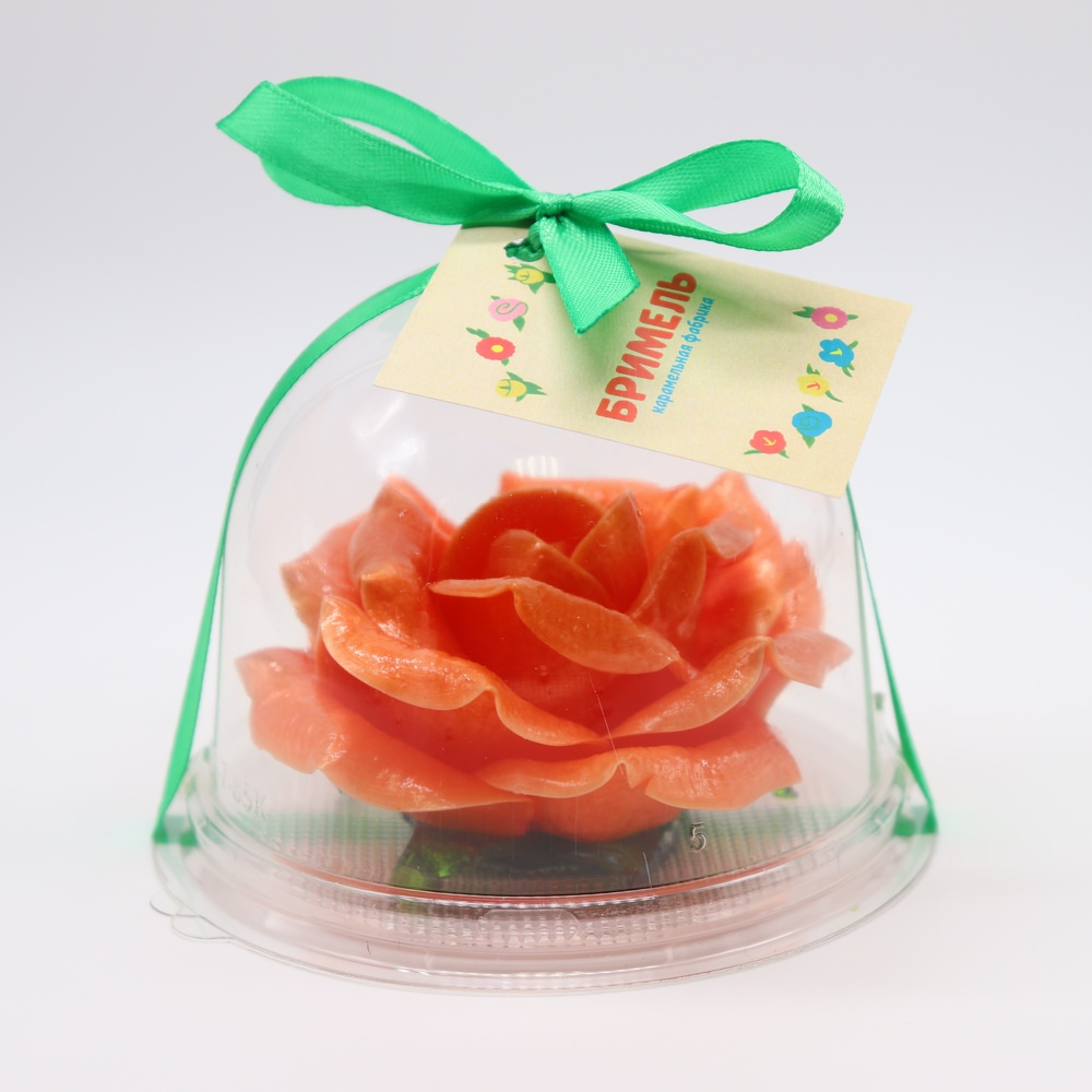Карамельная Роза маленькая пылко-оранжевая в полусфере