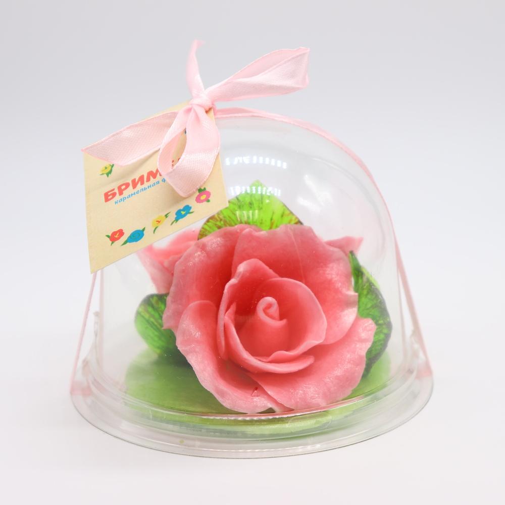 Карамельная Роза маленькая розовая в полусфере