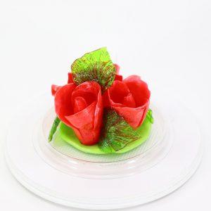 Карамельная Роза маленькая огненно-красная в полусфере